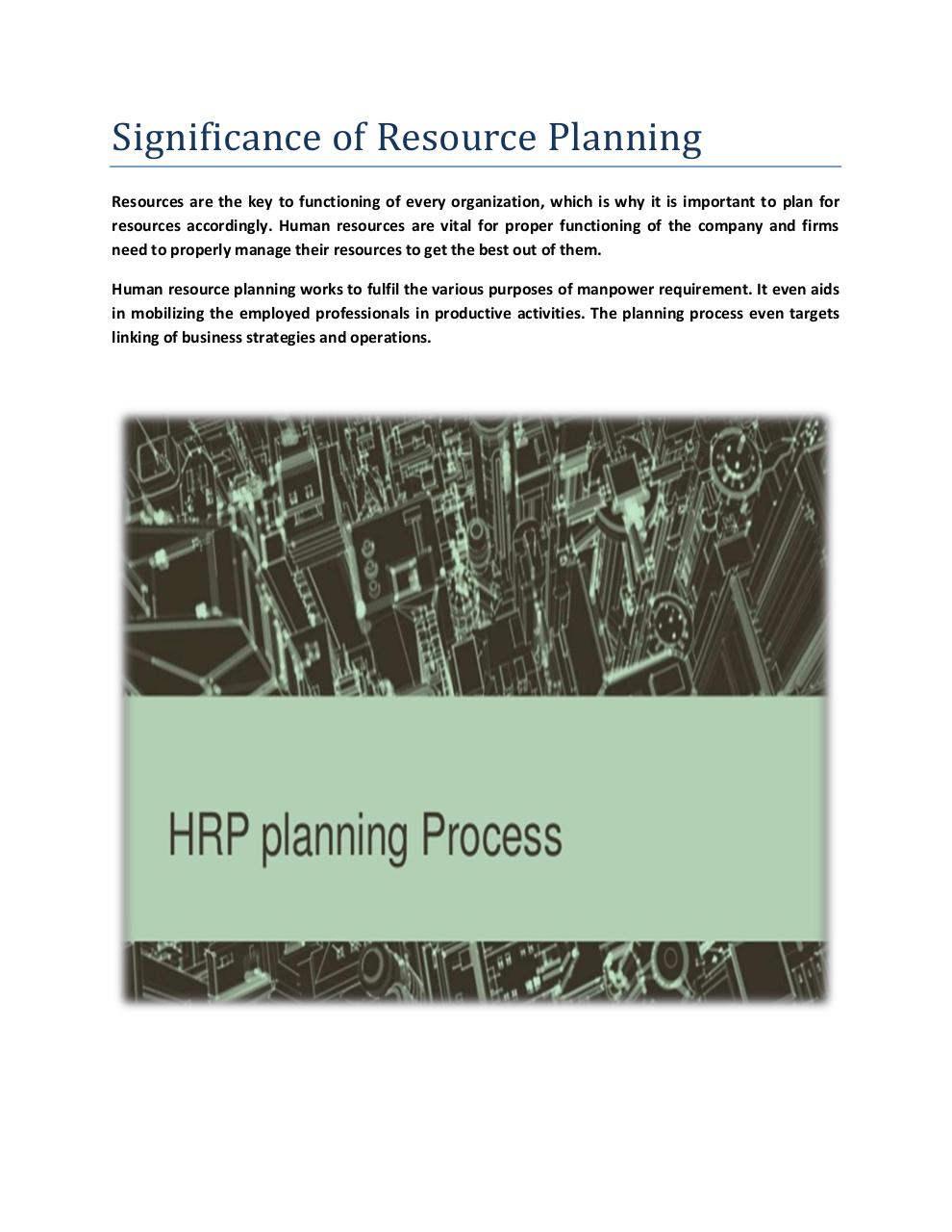 Document preview Significance of Resource Planning.pdf - page 1/4