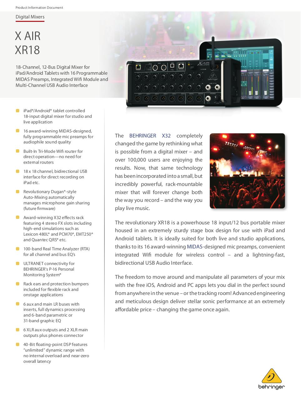 BEHRINGER_XR18 P0BI8_Product Information Document.pdf - page 1/25