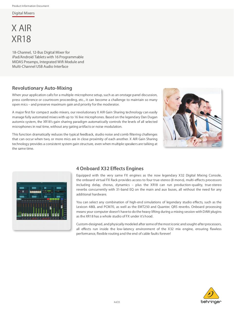 BEHRINGER_XR18 P0BI8_Product Information Document.pdf - page 4/25