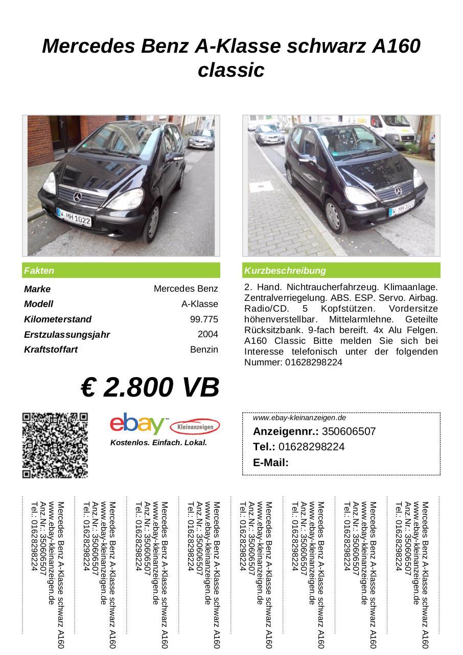 Verkaufsschild Mercedes Benz A Klasse schwarz A160 classic ...