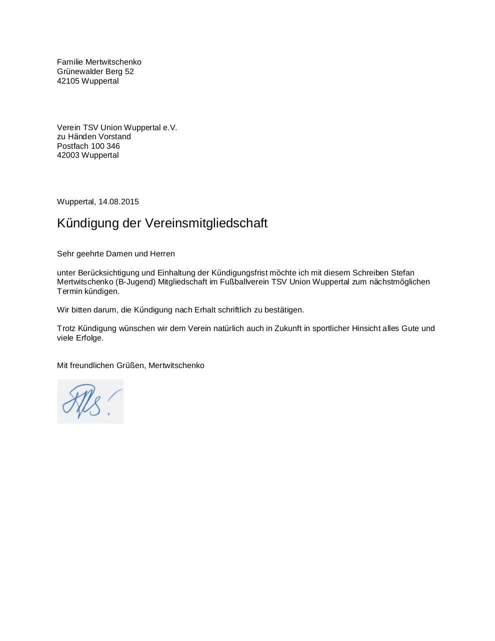Kündigung Mitgliedschaft Verein Pdf Kündigung