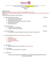 rotaract sample board meetingagenda