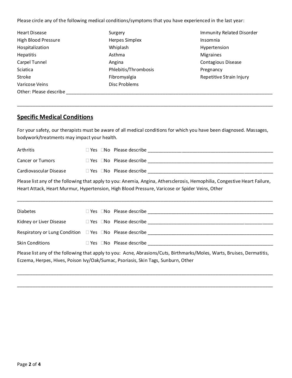 Document preview New Client Intake Form - MASSAGE ONLY.pdf - page 2/4