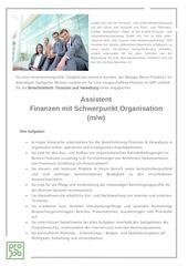 assistent finanzen schwerpunkt organisation