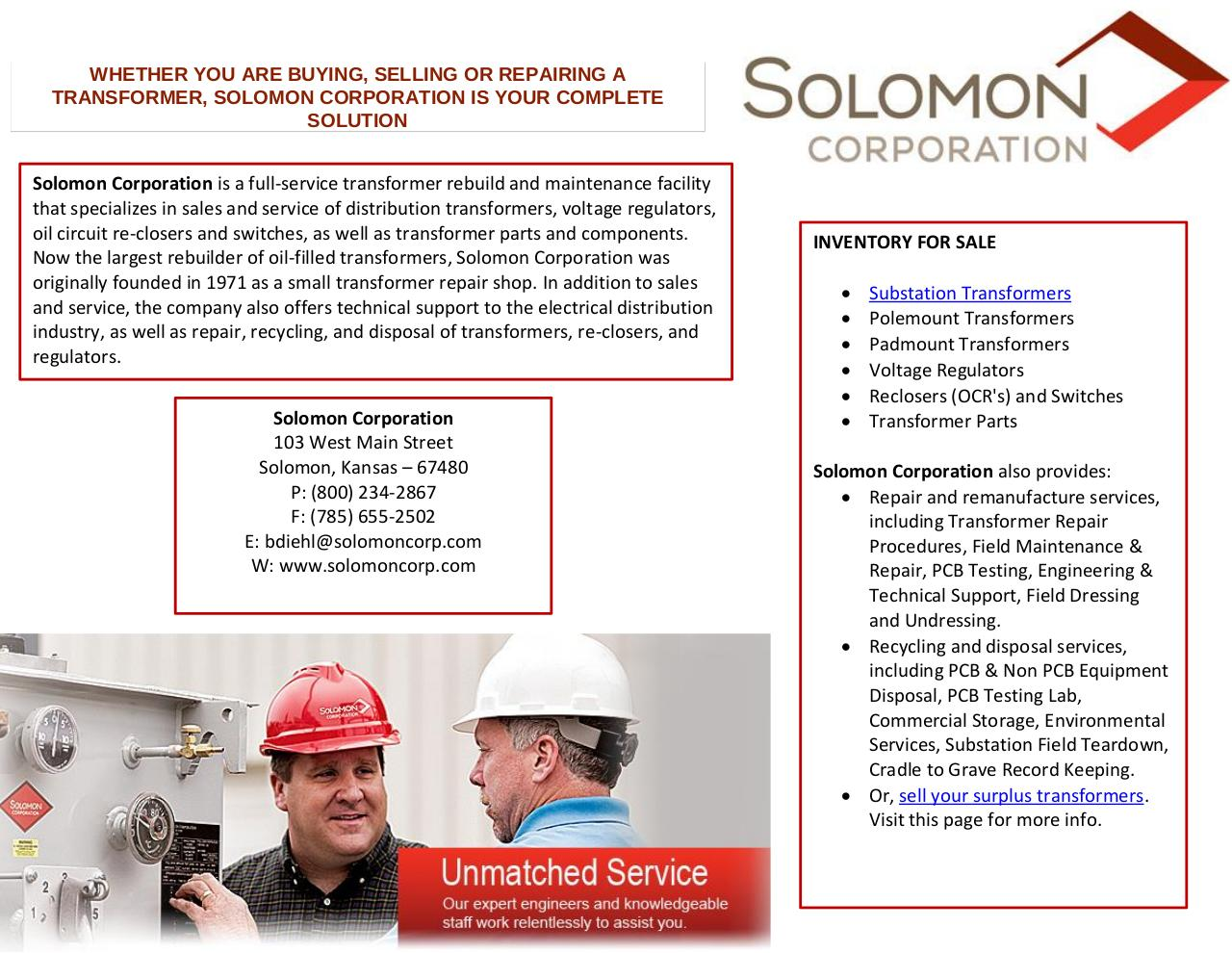 Document preview Substation Transformers by Solomoncorp.pdf - page 1/1