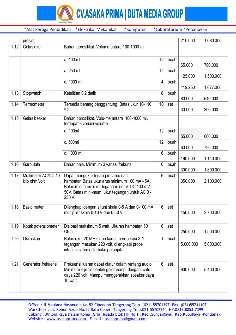 Document preview DAFTAR ALAT LABORATORIUM FISIKA DAK SMA 2015.pdf - page 2/5
