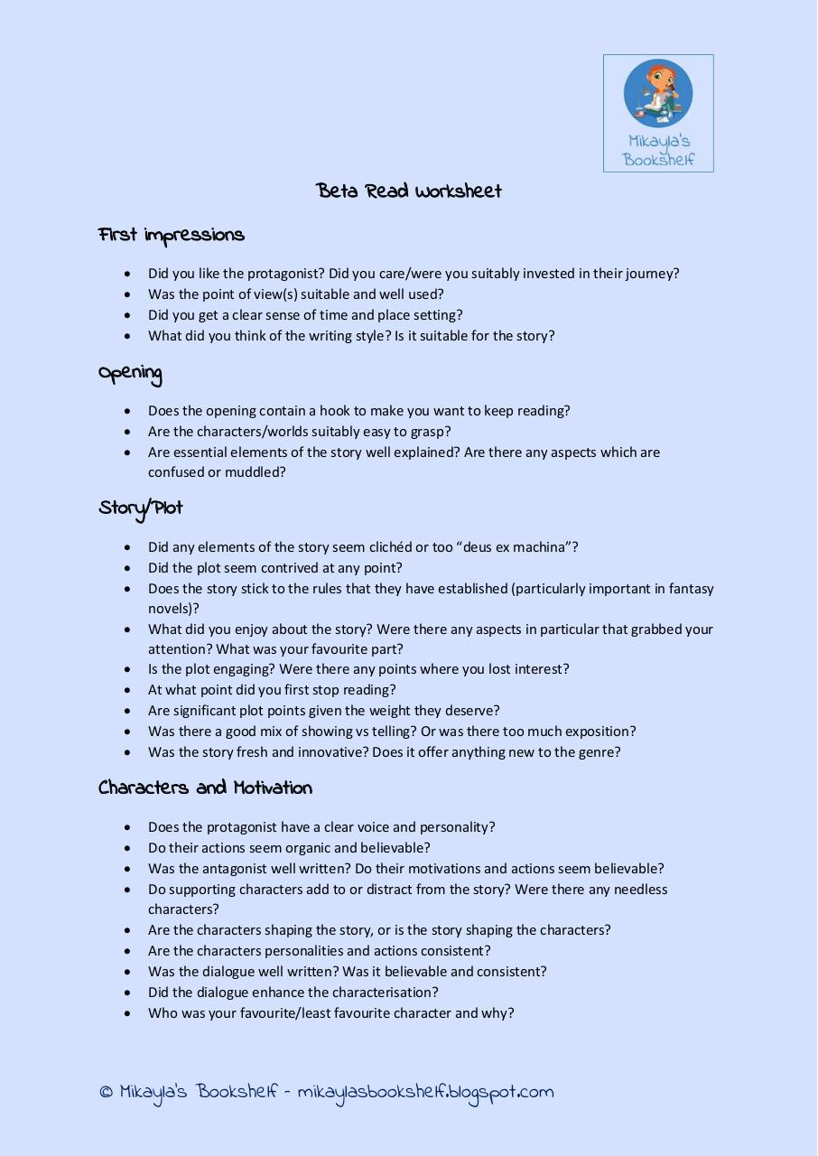 Beta Read Worksheet By Samantha Smith Pdf Archive