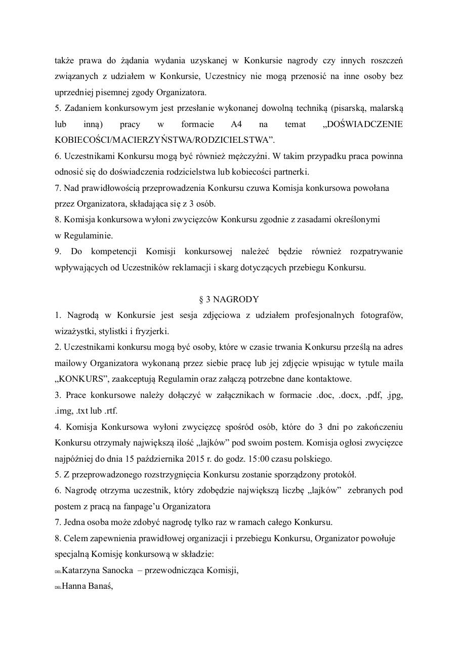 Document preview regulamin.pdf - page 2/4