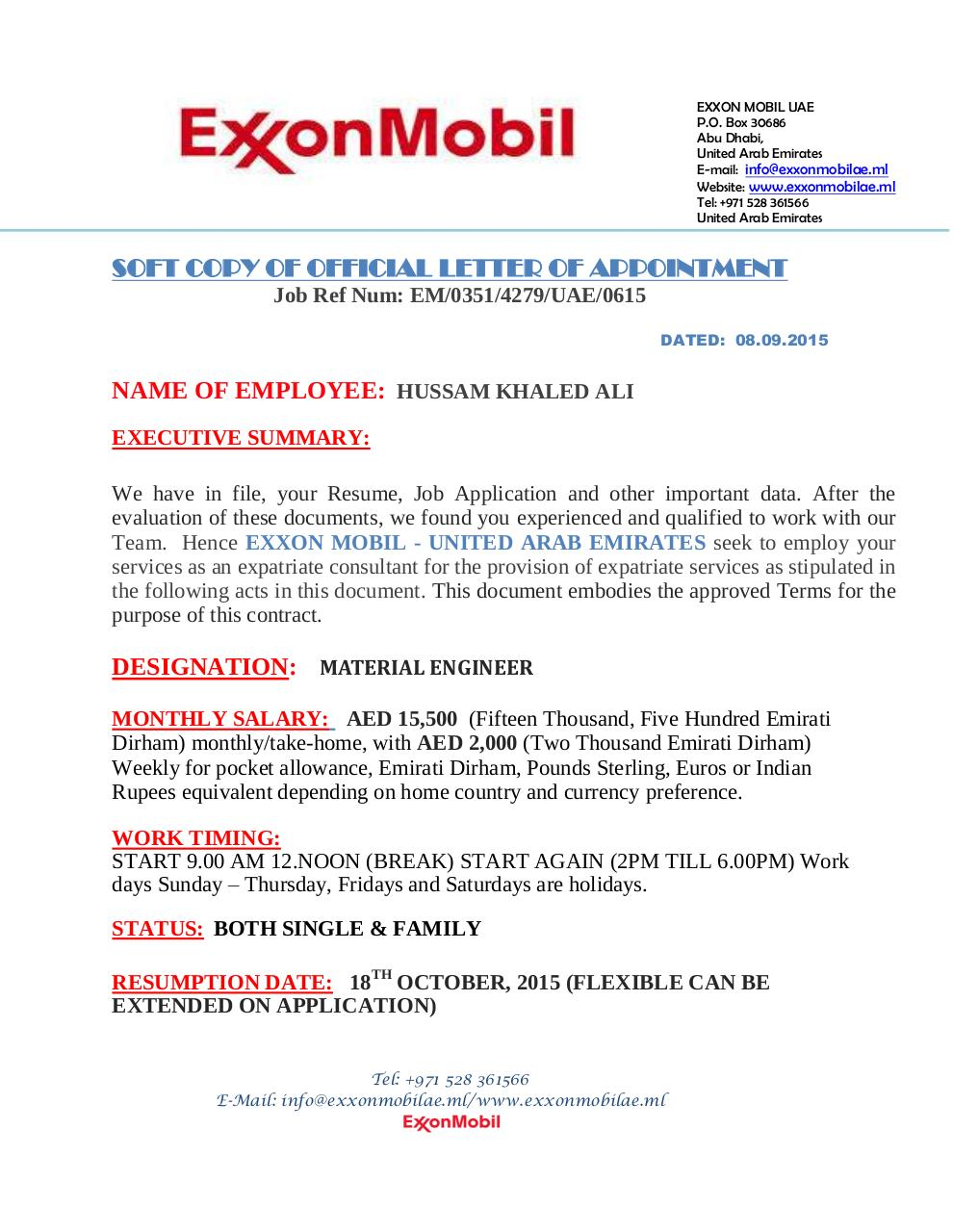 exxon contract appointment letterpdf page 17