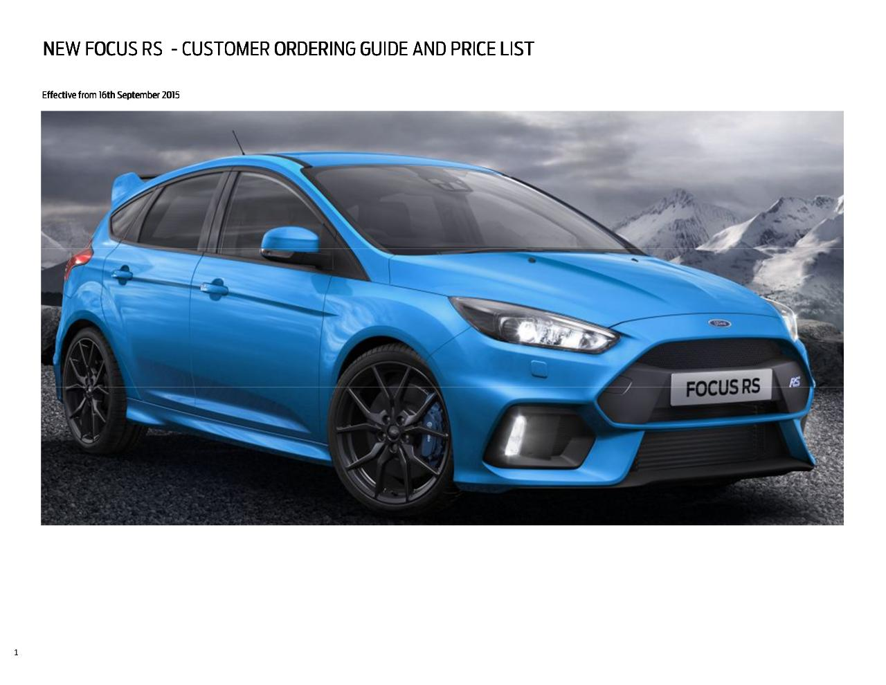 Ford focus rs price list 16th september 2015 pdf page 1 9