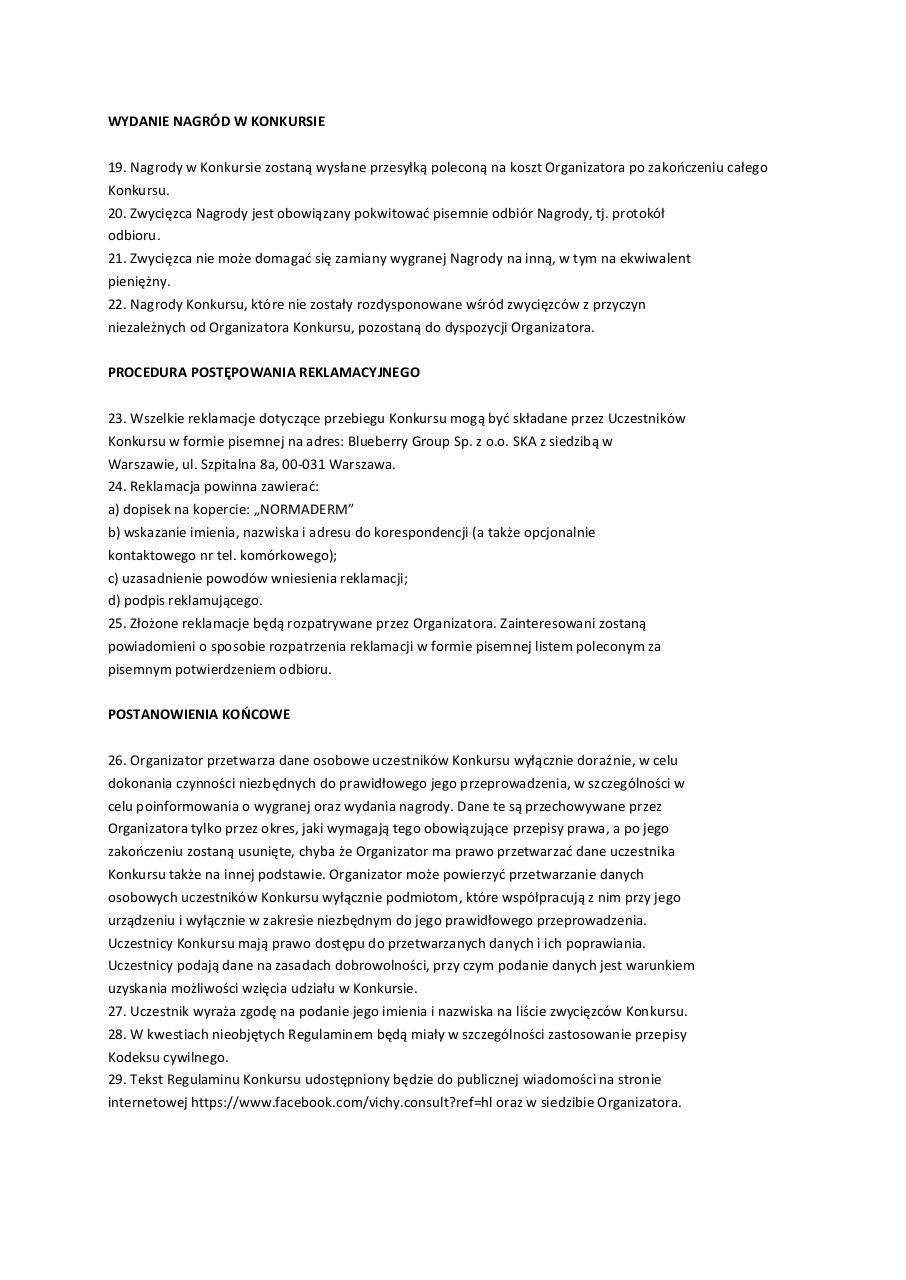 Document preview regulamin_normaderm.pdf - page 4/4
