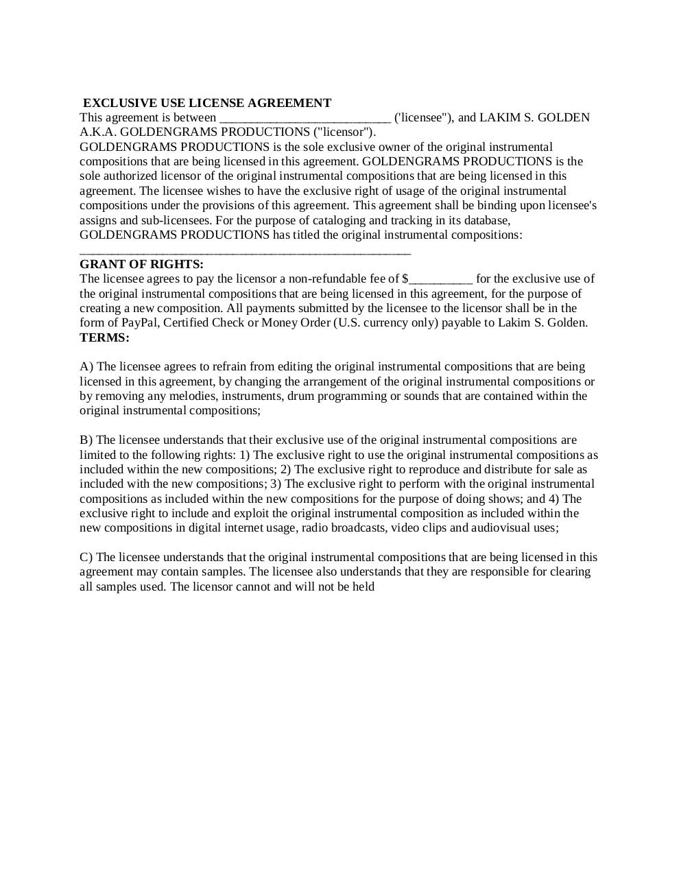 GoldenGrams Productions_Exclusive License Agreement.pdf - page 1/3