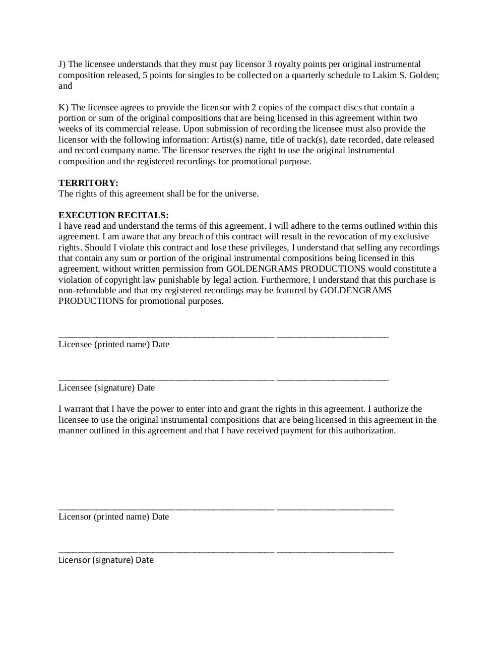 GoldenGrams Productions_Exclusive License Agreement.pdf - page 3/3