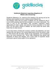 goldilocks statement overprice allegations