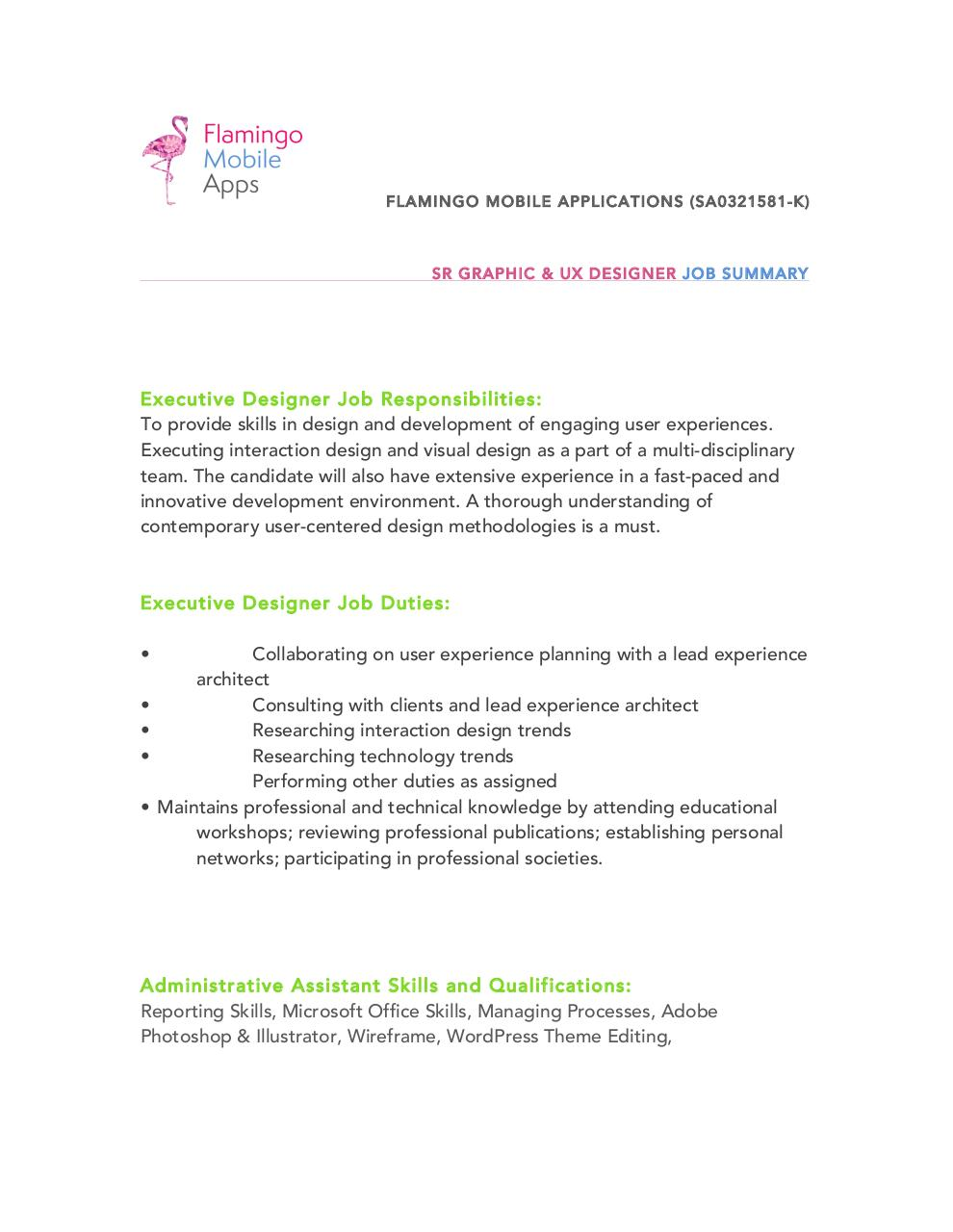Microsoft Word Sr Graphic UX Designer Descdocx Sr Graphic – Ux Designer Job Description