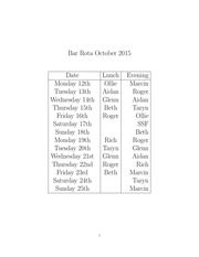 bar rota oct 12th