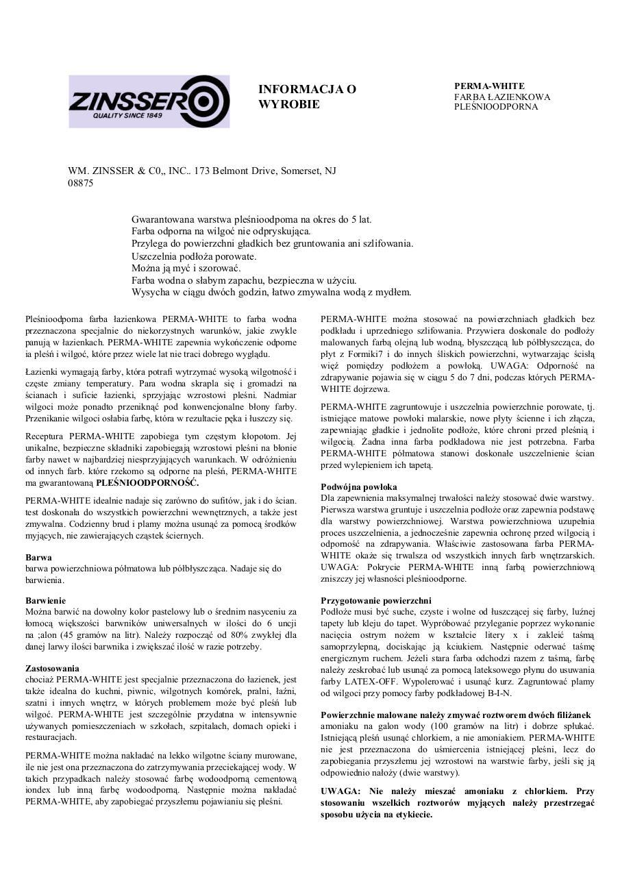 Preview of PDF document perma-white-karta-techniczna.pdf - Page 1/2