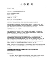 uber letter to guelph police board