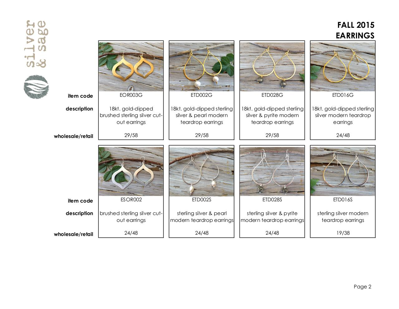 Document preview Line Sheet- Earrings- Fall 2015.pdf - page 2/5