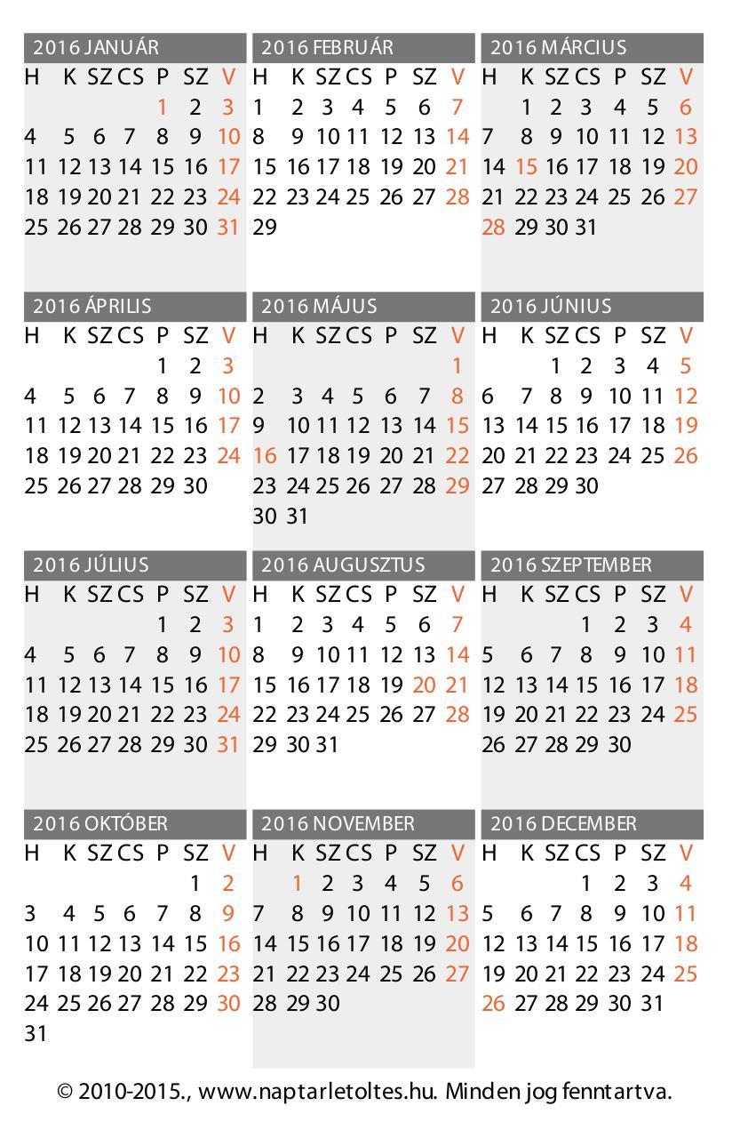 2010 naptár pdf 2016. évi Kártyanaptár, álló (65x100mm, 2 oldal) :: Design: CsAB  2010 naptár pdf