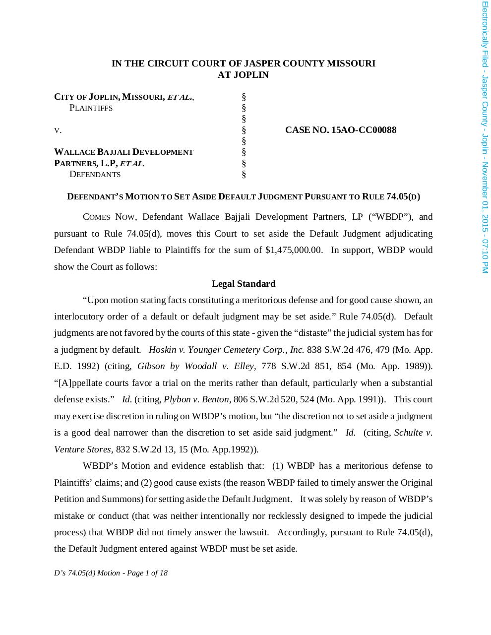 Motion to Set Aside Default Judgment.PDF - page 1/18