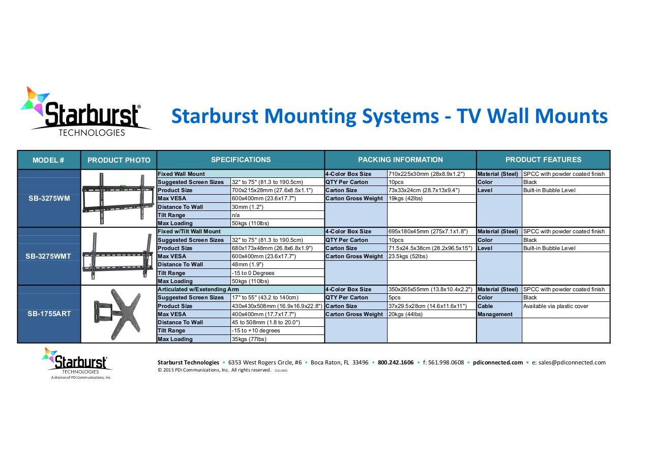 Document preview Starburst Mounts combo spec sheet3.pdf - page 1/1