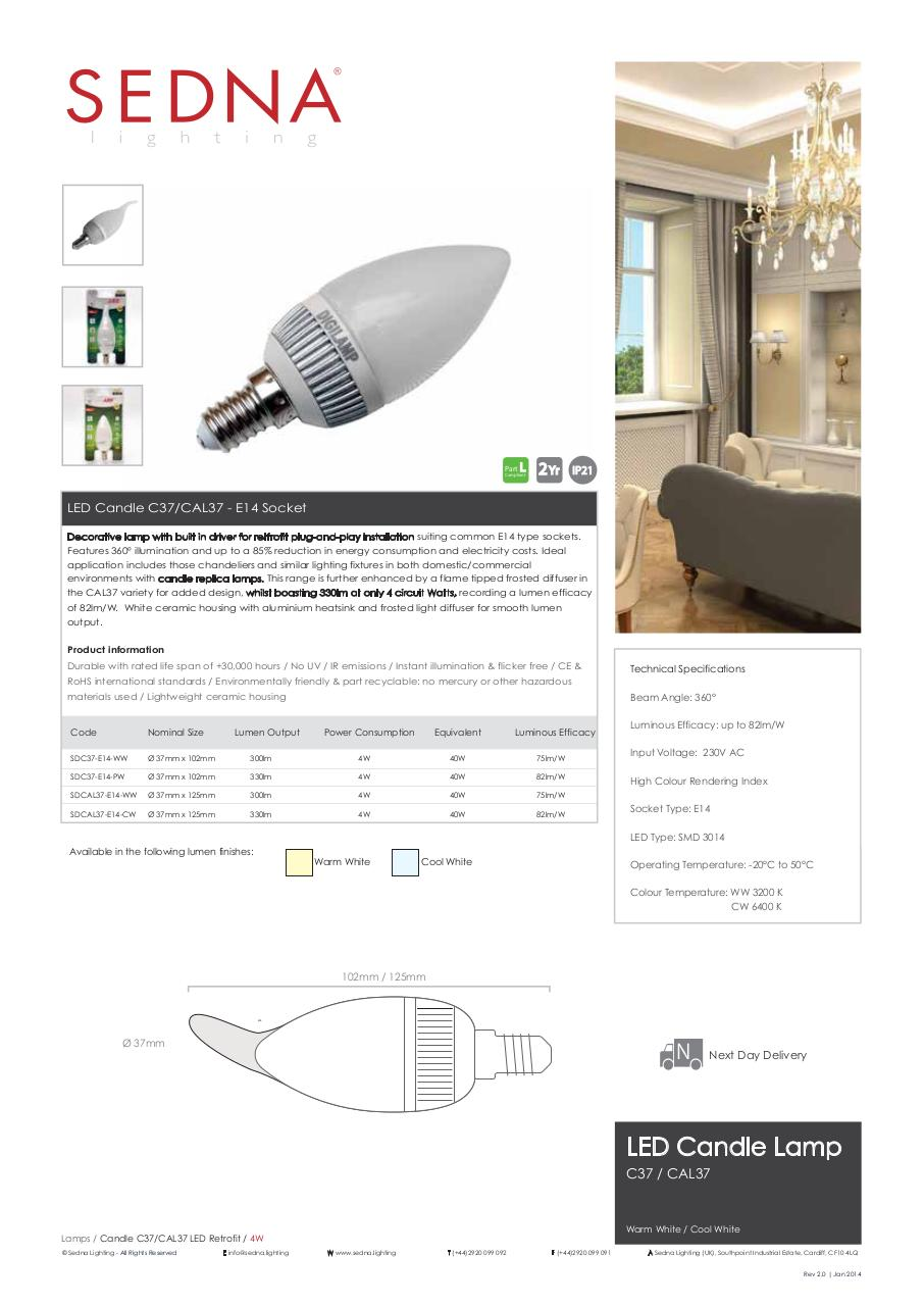 Document preview Sedna-Lighting-C37-CAL37-Lamps-Spec-Sheet.pdf - page 1/1