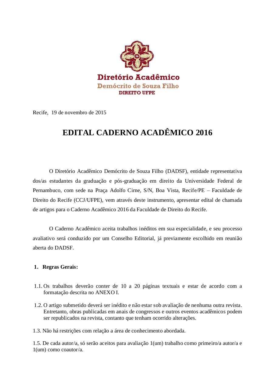 Document preview EditalCadernoAcademico2015-2016.pdf - page 1/5