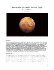 water and ice in the valles marineris region