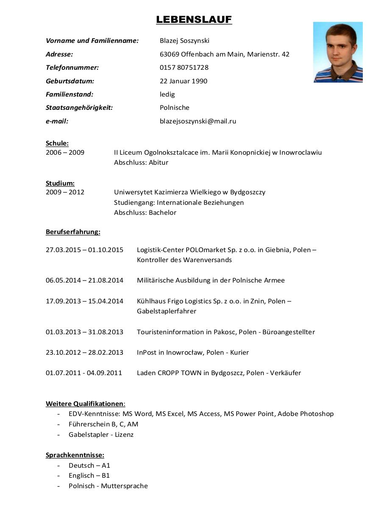 ledig staatsangehrigkeit polnische e mail blazejsoszynskimailru schule 2006 2009 studium 2009 2012 ii liceum ogolnoksztalcace im