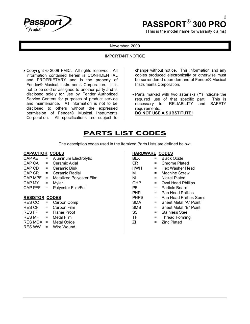 Passport 300 Pro Service Manual NO DIAGRAMS.pdf - page 2/23