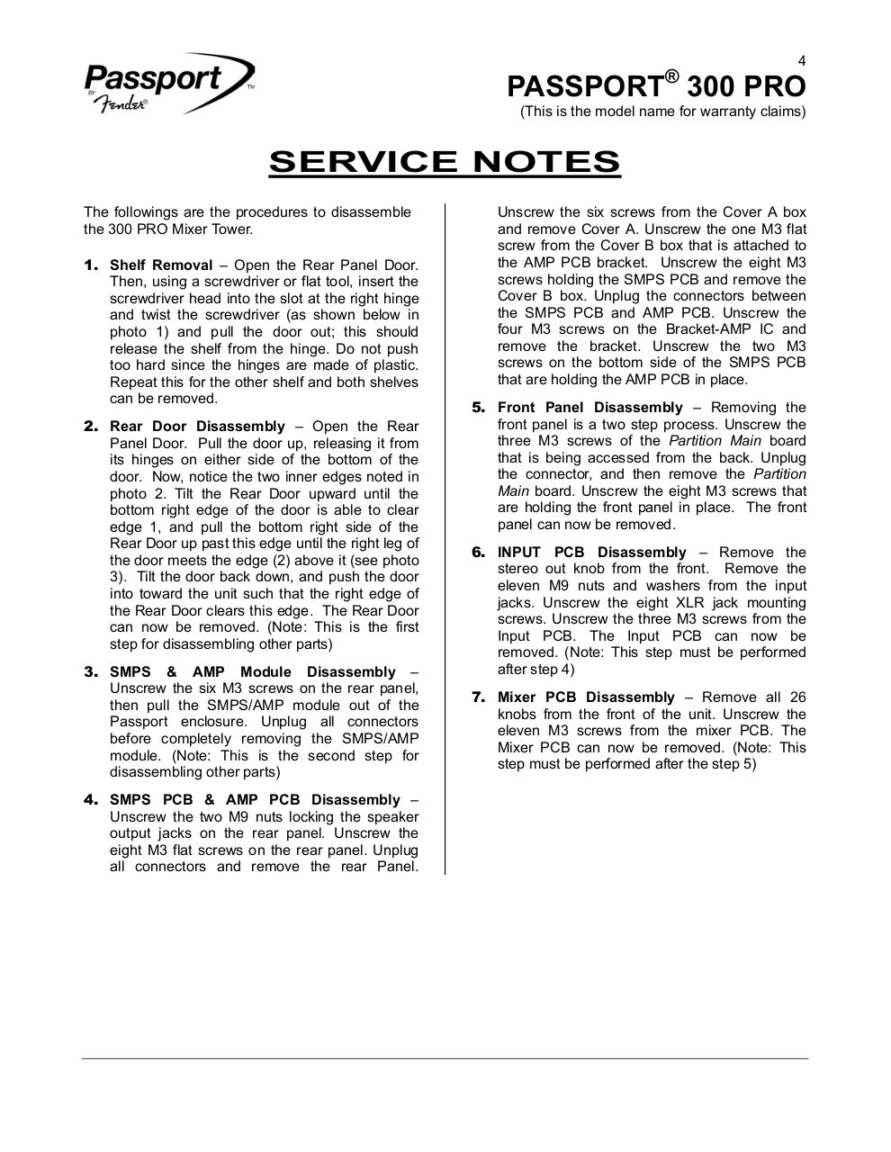 Passport 300 Pro Service Manual NO DIAGRAMS.pdf - page 4/23