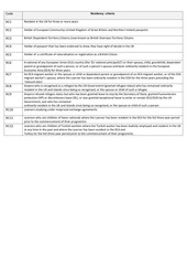 PDF Document residency criteria code sheet