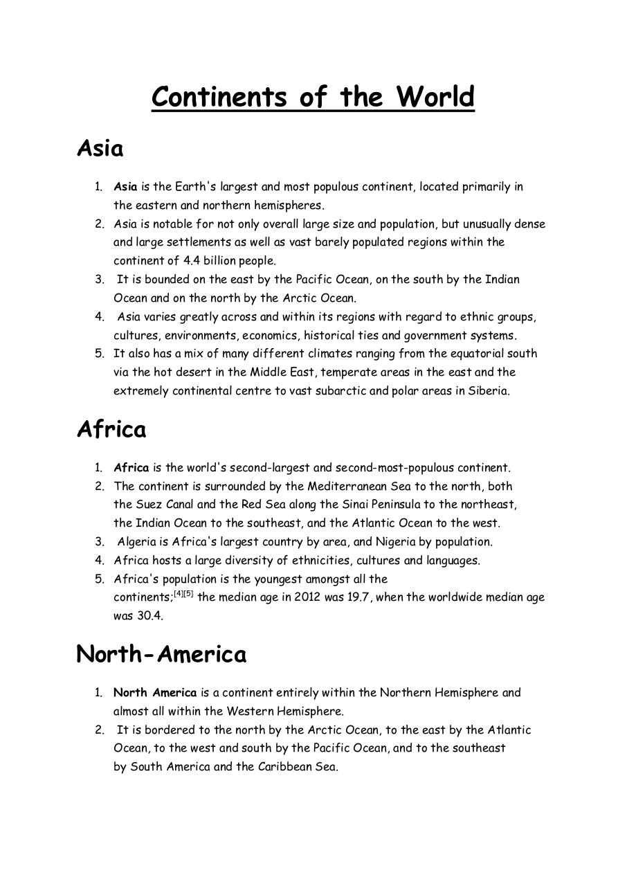 Document preview Continents of the World.pdf - page 1/3