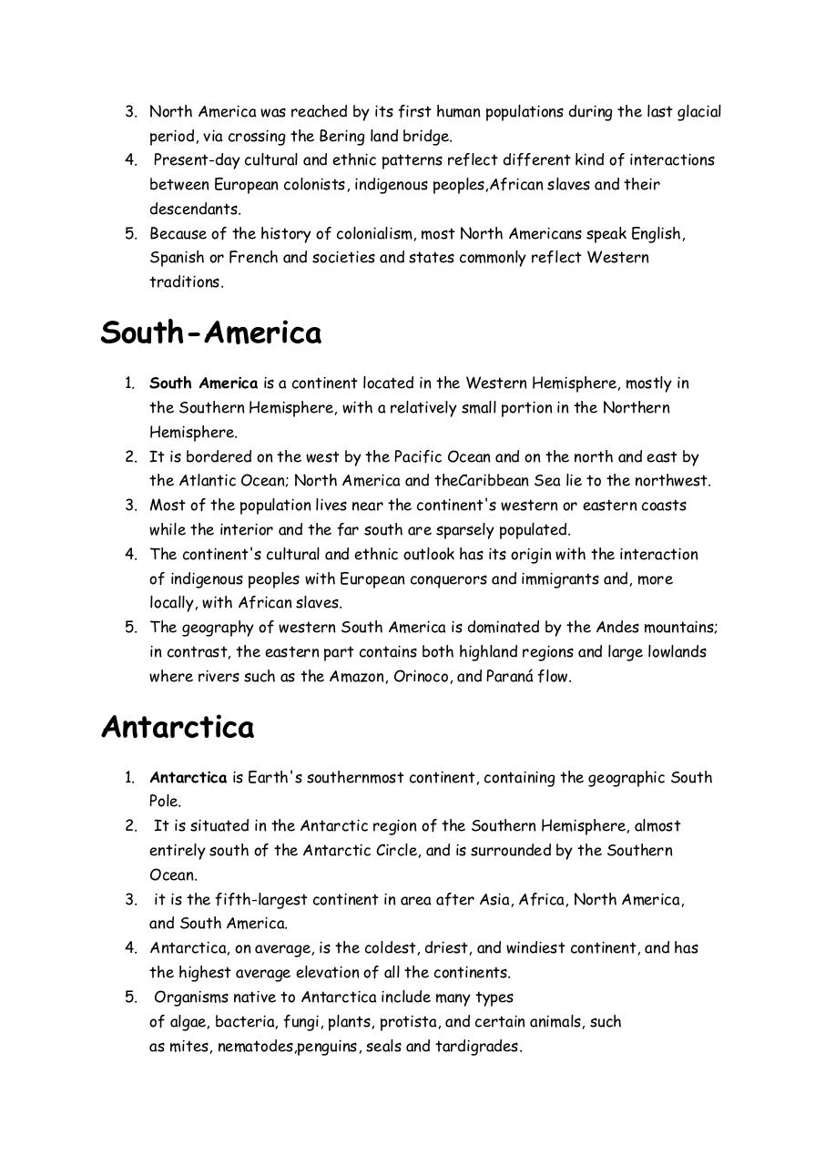 Document preview Continents of the World.pdf - page 2/3