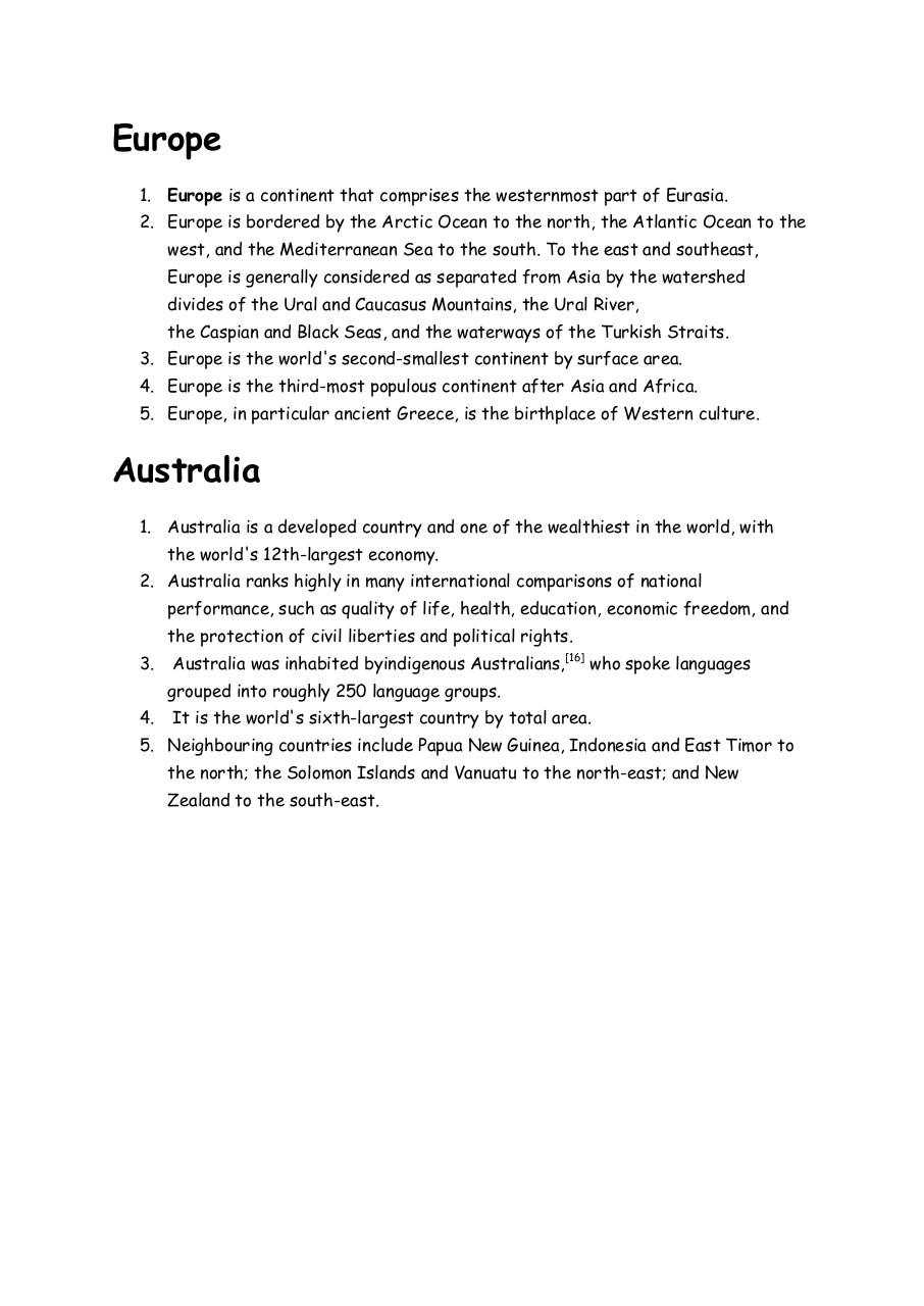 Document preview Continents of the World.pdf - page 3/3