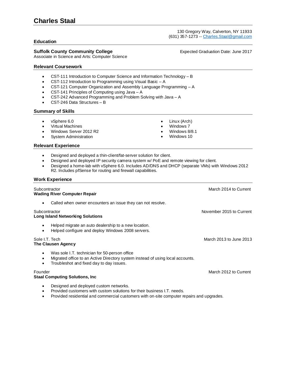 It Resume By Charles Staal Pdf Archive
