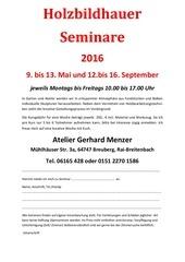 atelier gerhard menzer holzbildhauer seminare 2016
