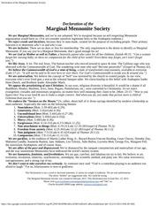 declaration of the marginal mennonite society