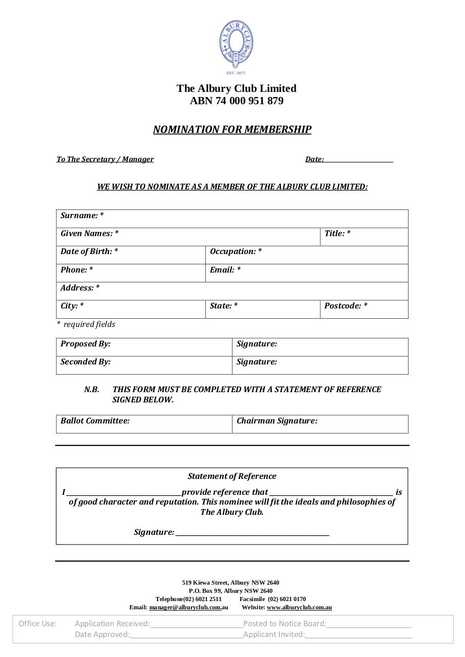 Albury Club Nomination Form With Statement Of Reference.pdf