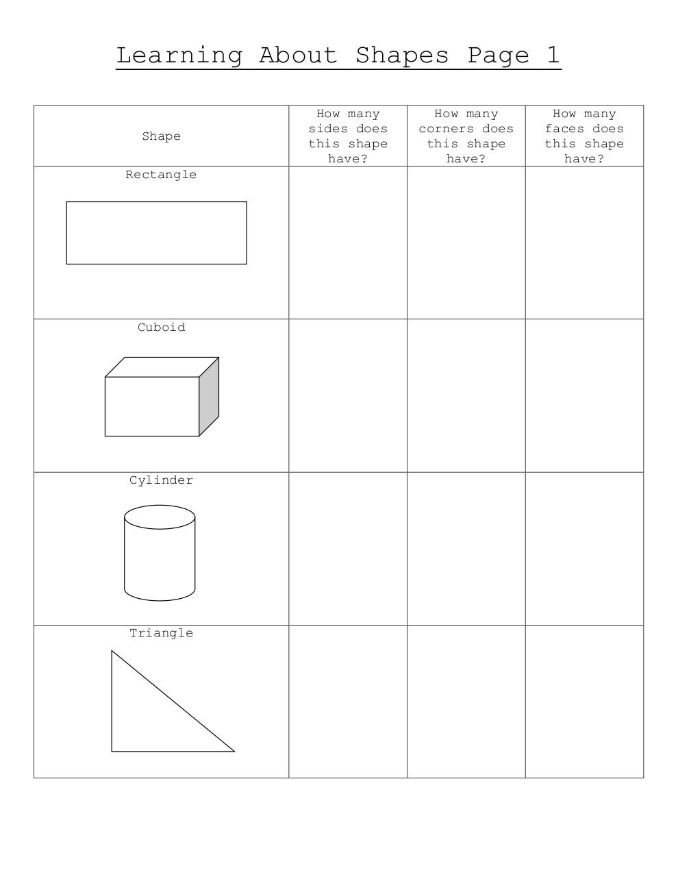 Learning About Shapes Worksheet.pdf - page 1/2