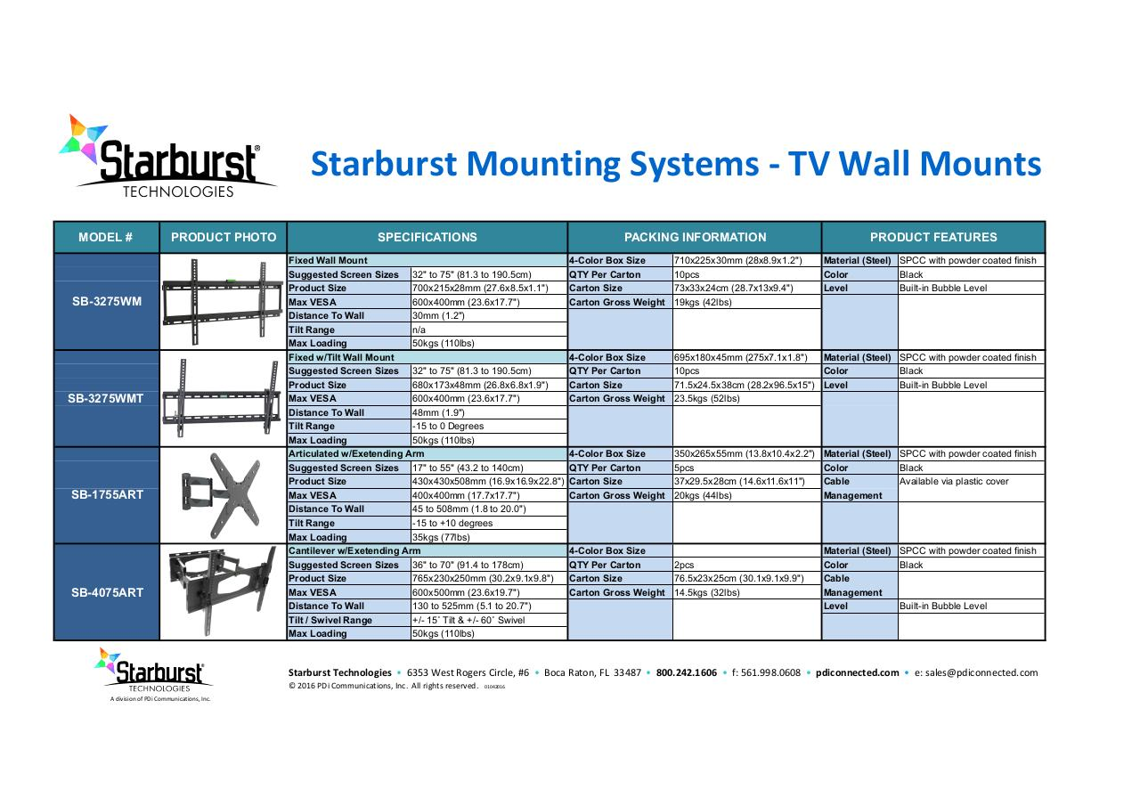 Document preview Starburst Mounts combo spec sheet5.pdf - page 1/1