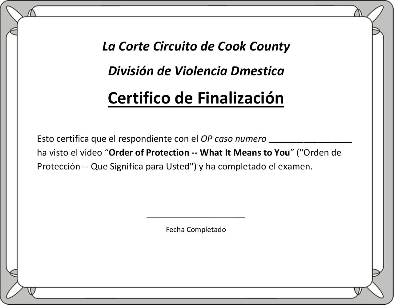 Spanish Certificate Of Completion With Print Option By Lelandi Pdf