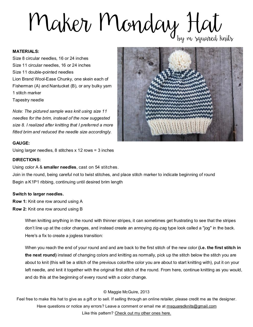Document preview Maker Monday Hat.pdf - page 1/2