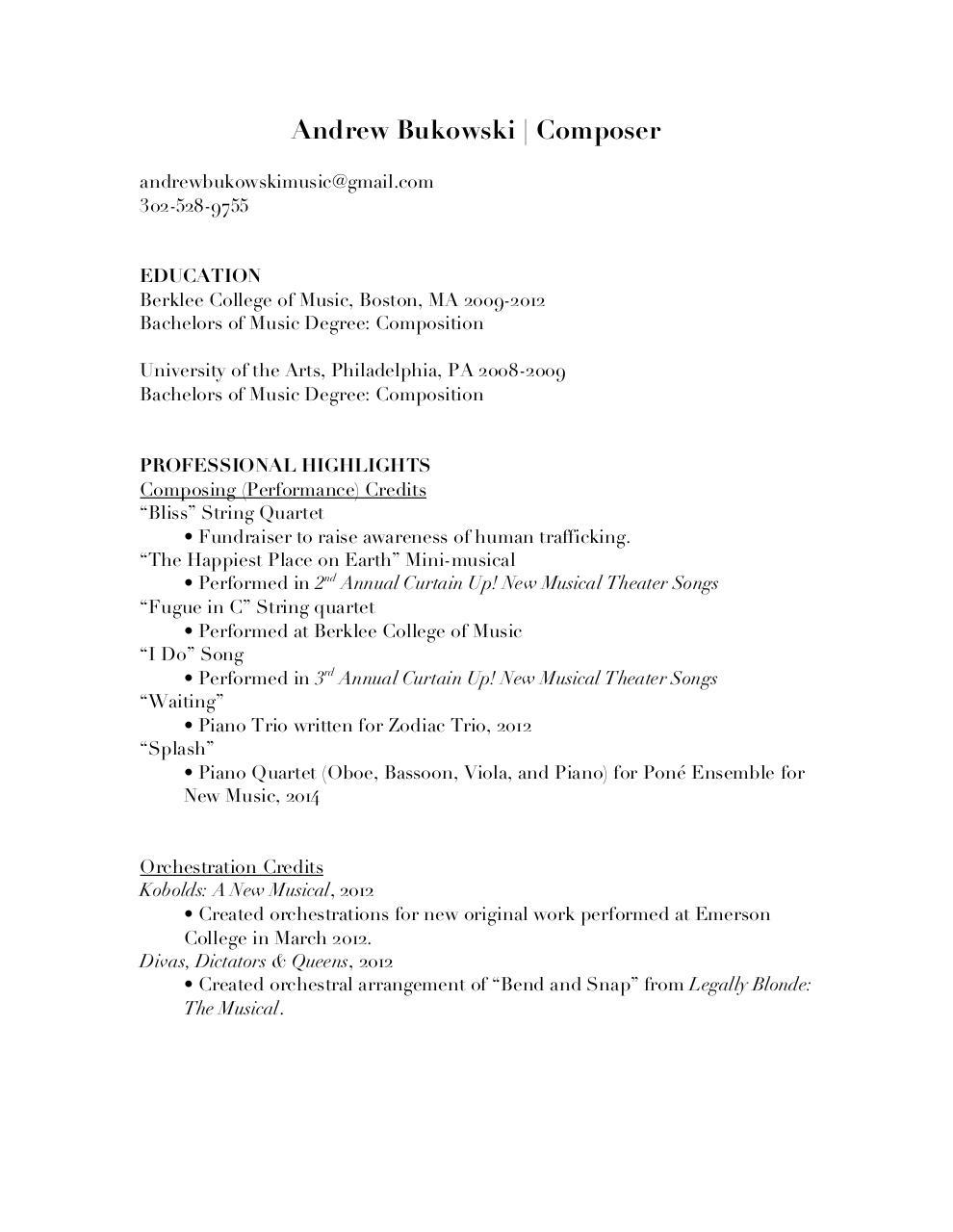 Andrew Bukowski Music Resume Andrew Bukowski Music Resumepdf – Music Resume