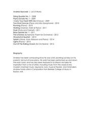 andrew bukowski works list