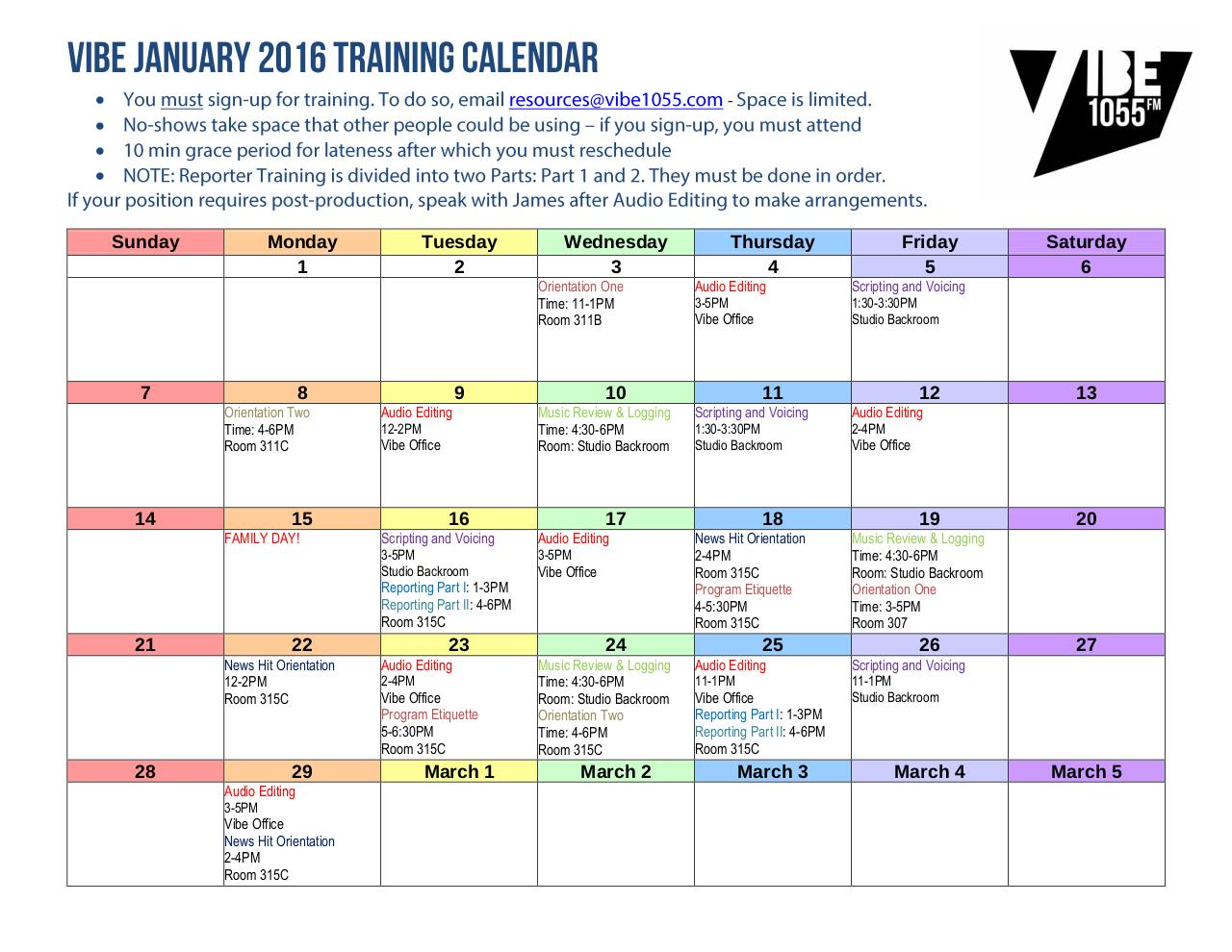 Document preview FEB 2016 VIBE TRAINING CALENDAR.pdf - page 1/1