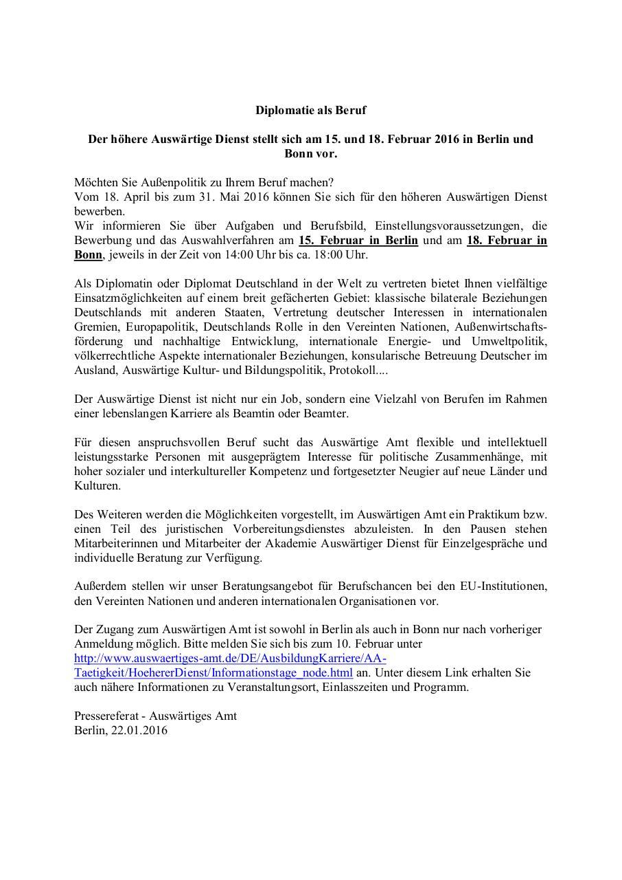 Bewerbertage Auswartiges Amt In Berlin Und Bonn Pdf Archive