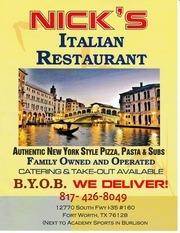 nicks italian restaurant indoor