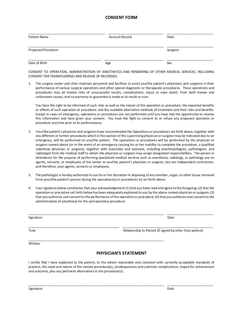 Document preview Form - Patient Consent.pdf - page 1/1